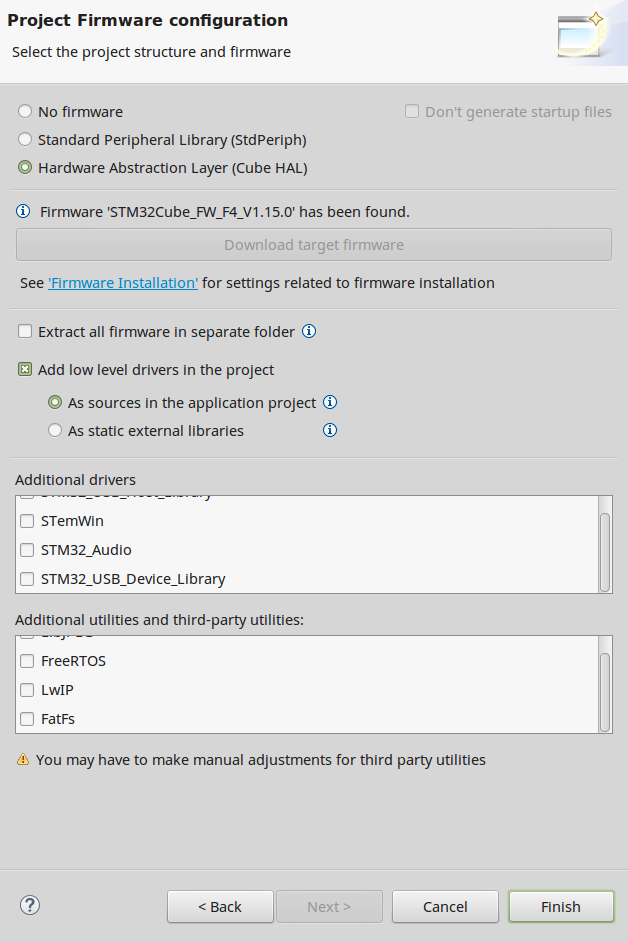 STM32 new project select HAL drivers
